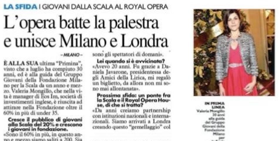 L'opera batte la palestra e unisce Milano e Londra